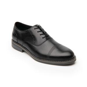Zapato Oxford Flexi Para Hombre Con Agujetas Estilo 404602 Negro